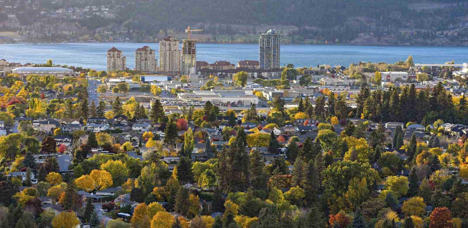 aerial view of Kelowna BC