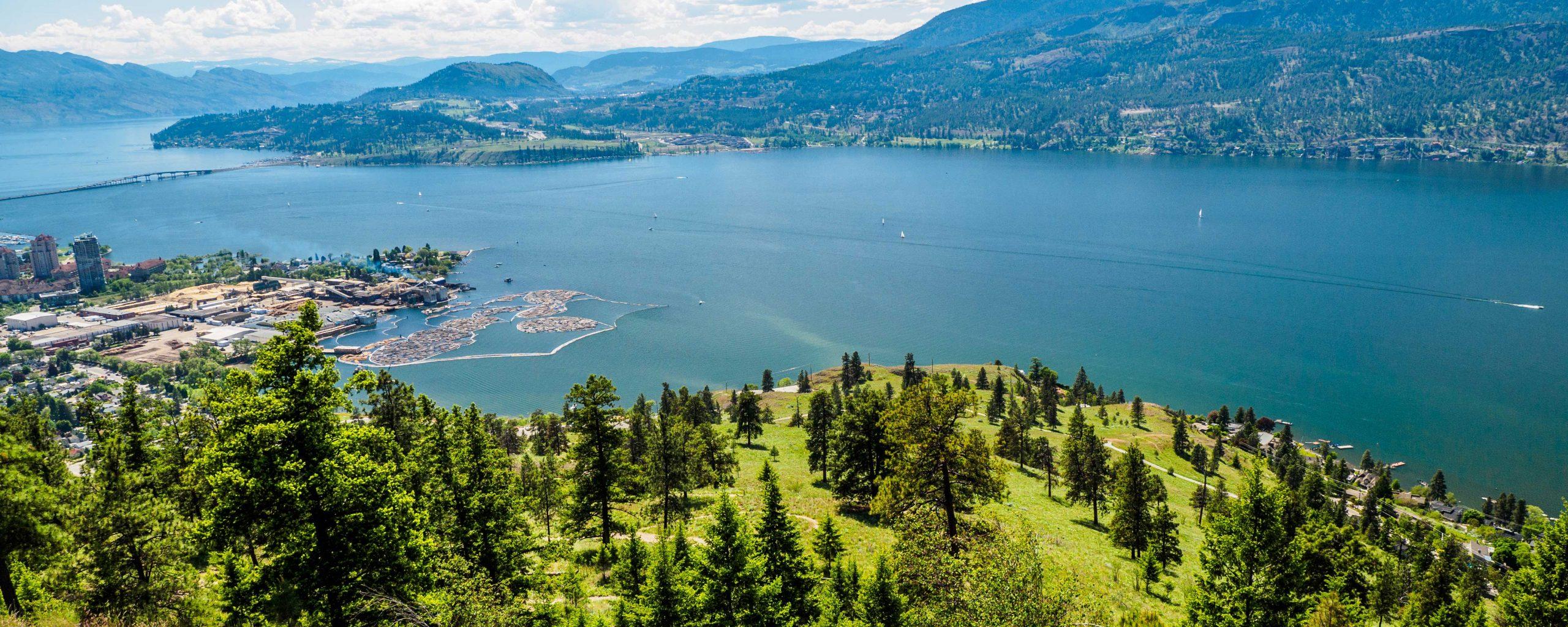 View on hill overlooking Okanagan Lake and Kelowna BC